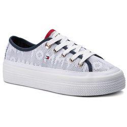 fee206035b77e Tenisówki TOMMY HILFIGER - Jacquard Flatform Sneaker FW0FW04071 White 100