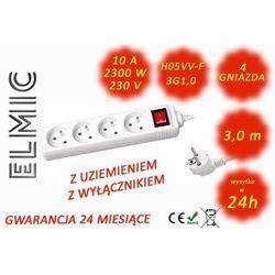 Przedłużacz elektryczny listwa z włącznikiem - 3.0 mb - WS NF 04 K / 3.0 / 1.0 / K - ELMIC biały