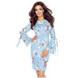 a5450f32f2 Sukienka z wiązanymi rękawami OLGA - niebieska - rozmazane róże Darmowa  dostawa