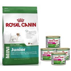 Royal Canin Mini Junior 800g + 4 puszki 195g gratis