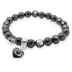 Bransoletka z ciemnego hematytu i kryształów Silver Night 8 mm oraz z zawieszką serce 10 m
