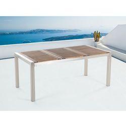 Stół ze stali nierdzewnej 180cm - drewniany - trzyczęściowy - blat - GROSSETO