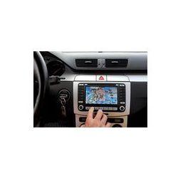Foto naklejka samoprzylepna 100 x 100 cm - Ekskluzywny samochód, przednia szyba, deska rozdzielcza z panelem gps