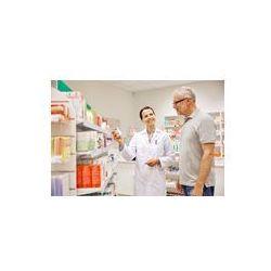 Foto naklejka samoprzylepna 100 x 100 cm - Farmaceuta pokazując lek starszy mężczyzna w aptece