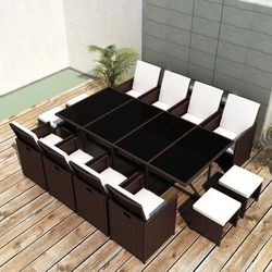vidaXL Zestaw mebli polirattanowych 8 foteli+4 taborety Darmowa wysyłka i zwroty