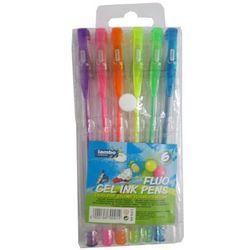 Długopisy żelowe 6 kolorów fluorescencyjne