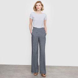 Szerokie spodnie, len z domieszką imitujący denim