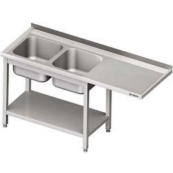 Stół ze zlewem dwukomorowym i miejscem na urządzenie STALGAST 1900x700x900 lewy