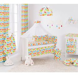 MAMO-TATO rozbieralna pościel 12-el Słonie kolorowe do łóżeczka 60x120cm - moskitiera