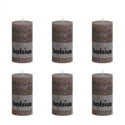 Bolsius Świece rustykalne x6 130x68 mm Taupe Zapisz się do naszego Newslettera i odbierz voucher 20 PLN na zakupy w VidaXL!
