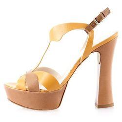 Skórzane sandały na słupku