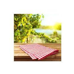Foto naklejka samoprzylepna 100 x 100 cm - Pusty drewniany pokład stół z obrusem