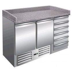 Stacja do pizzy - 2 drzwiowa, 6 szuflad   +2° do +8°C   granitowy blat