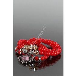 Czerwona bransoletka lub naszyjnik z cyrkoniową zawieszką oraz koralikami swarovskiego