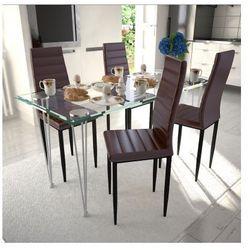 4 wysokie brązowe krzesła do jadalni + stół ze szklanym blatem Zapisz się do naszego Newslettera i odbierz voucher 20 PLN na zakupy w VidaXL!