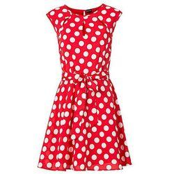 Sukienka w groszki bonprix czerwono-biały w groszki
