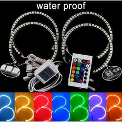 Water Proof E36 E38 E39 5050 42SMD RGB Flash SMD LED ANGEL EYES HALO RINGS kit for BMW 4 * 131MM Free Shipping