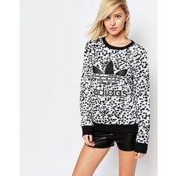 adidas Orginals Sweatshirt With Trefoil Logo In Inked Print - Multi