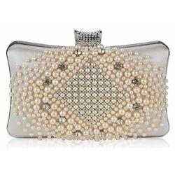 Perłowo-kryształowa torebka wizytowa w kolorze NUDE - nude, cielisty