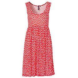 Sukienka bonprix koralowo-biały w groszki