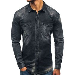 80ba30f7d8b54a Koszula męska jeansowa z długim rękawem czarna Denley 2063