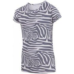 [T4Z16-JTSDF200] T-shirt fitness dziewczęcy JTSDF200 - allover czarny