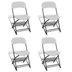 Krzesła składane kempingowe, białe, 4 w zestawie, wykonane z HDPE Zapisz się do naszego Newslettera i odbierz voucher 20 PLN na zakupy w VidaXL!