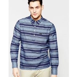 Lee Half Placket Overhead Space Dye Stripe Regular Fit Shirt in Navy - Navy