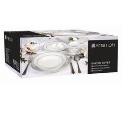 Baron Silver porcelanowy komplet obiadowy - 43 elementowy (śr. 260)