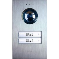 Domofon m-e modern-electronics VDV 620 compact, Jednostka zewnętrzna, Interkom drzwiowy z wideo, Dom dwurodzinny, Kolor: Stali szlachetnej
