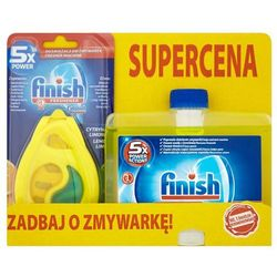 FINISH 5x Power Actions Lemon Zestaw Odświeżacz + Płyn do czyszczenia