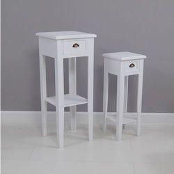 Stoliki, zestaw, dwie sztuki, matowa biel, seria Toscana.