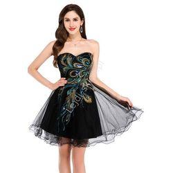 Czarna sukienka z pawimi piórami | sukienki tiulowe