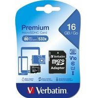 VERBATIM MICRO SDHC 16GB CLASS 10 + ADAPTER SD