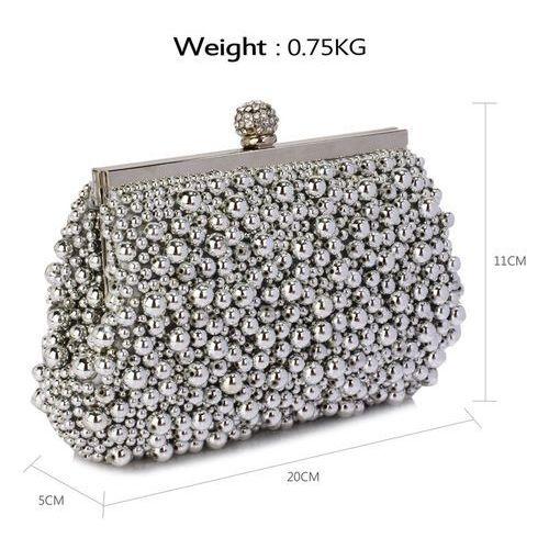 5c6e615f2e998 Zmysłowa srebrna torebka wizytowa z koralików - srebrny - porównaj ...