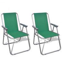 Zestaw 2 składanych krzeseł kempingowych z torbą zielone Zapisz się do naszego Newslettera i odbierz voucher 20 PLN na zakupy w VidaXL!
