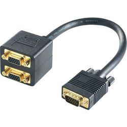 Kabel rozdzielacz VGA (męski) <=> 2 x VGA (żeński), 0,2 m, czarny