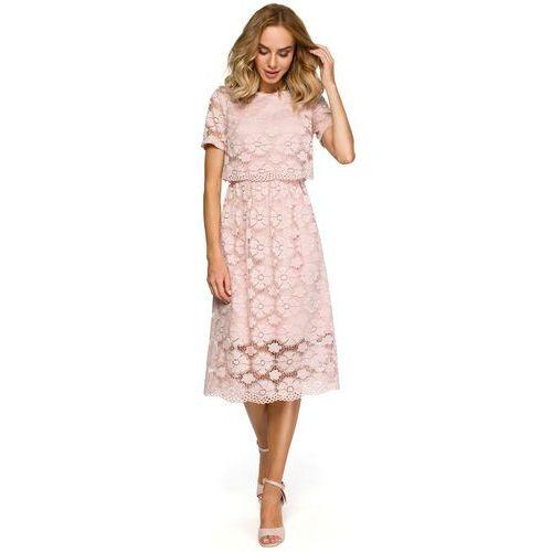 08f6032e01 Koronkowa sukienka midi z podkreśloną talią różowa M405 - porównaj ...