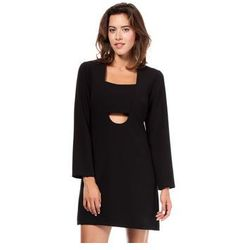 BW028 - Mini sukienka w kształcie litery A - Czarna